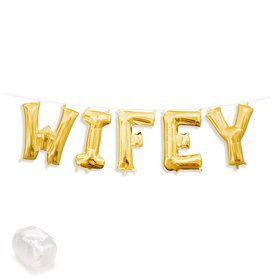 "Air-Fillable 13"" Gold Letter Balloon Kit ""WIFEY"""