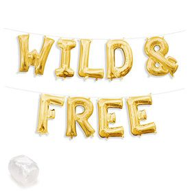 "Air-Fillable 13"" Gold Letter Balloon Kit ""WILD & FREE"""