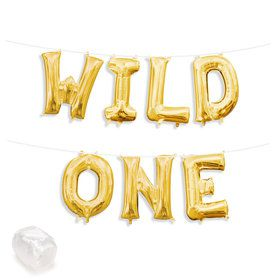 "Air-Fillable 13"" Gold Letter Balloon Kit ""WILD ONE"""