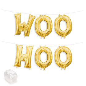 "Air-Fillable 13"" Gold Letter Balloon Kit ""WOO HOO"""