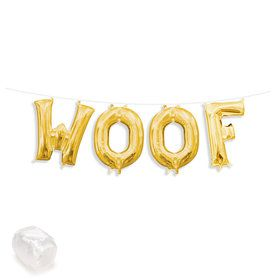 "Air-Fillable 13"" Gold Letter Balloon Kit ""WOOF"""