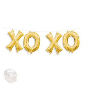 "Air-Fillable 13"" Gold Letter Balloon Kit ""XOXO"""