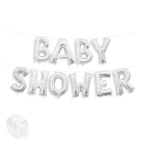 "Air-Fillable 13"" Silver Letter Balloon Kit ""BABY SHOWER"""