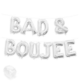 """Air-Fillable 13"""" Silver Letter Balloon Kit """"BAD & BOUJEE"""""""