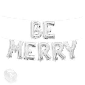 "Air-Fillable 13"" Silver Letter Balloon Kit ""BE MERRY"""