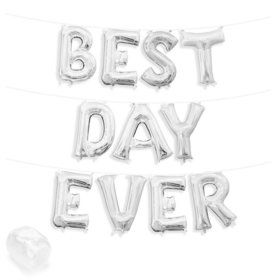 "Air-Fillable 13"" Silver Letter Balloon Kit ""BEST DAY EVER"""