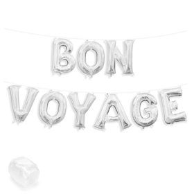 "Air-Fillable 13"" Silver Letter Balloon Kit ""BON VOYAGE"""