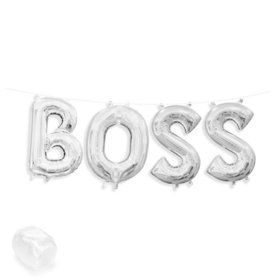 "Air-Fillable 13"" Silver Letter Balloon Kit ""BOSS"""