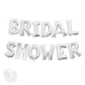 "Air-Fillable 13"" Silver Letter Balloon Kit ""BRIDAL SHOWER"""