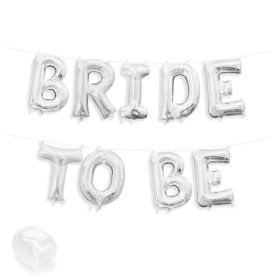 """Air-Fillable 13"""" Silver Letter Balloon Kit """"BRIDE TO BE"""""""