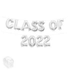 "Air-Fillable 13"" Silver Letter Balloon Kit ""CLASS OF 2019"""