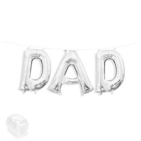 "Air-Fillable 13"" Silver Letter Balloon Kit ""DAD"""