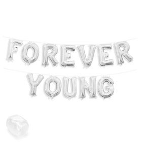 """Air-Fillable 13"""" Silver Letter Balloon Kit """"FOREVER YOUNG"""""""