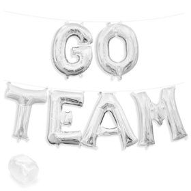 "Air-Fillable 13"" Silver Letter Balloon Kit ""GO TEAM"""