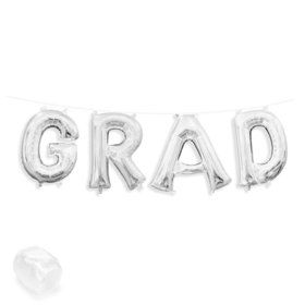 "Air-Fillable 13"" Silver Letter Balloon Kit ""GRAD"""