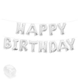 "Air-Fillable 13"" Silver Letter Balloon Kit ""HAPPY BIRTHDAY"""