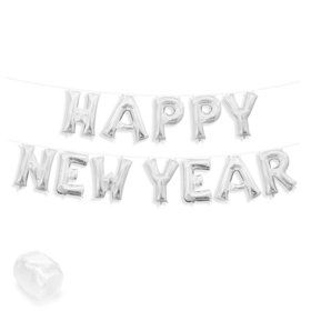 """Air-Fillable 13"""" Silver Letter Balloon Kit """"HAPPY NEW YEAR"""""""