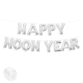 "Air-Fillable 13"" Silver Letter Balloon Kit ""HAPPY NOON YEAR"""
