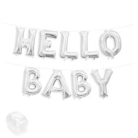 "Air-Fillable 13"" Silver Letter Balloon Kit ""HELLO BABY"""