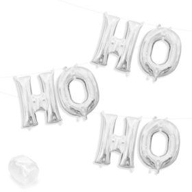 "Air-Fillable 13"" Silver Letter Balloon Kit ""HO HO HO"""