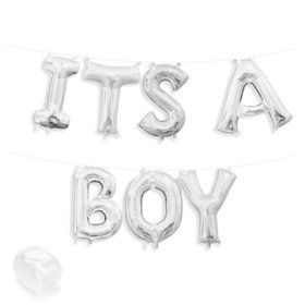 "Air-Fillable 13"" Silver Letter Balloon Kit ""ITS A BOY"""