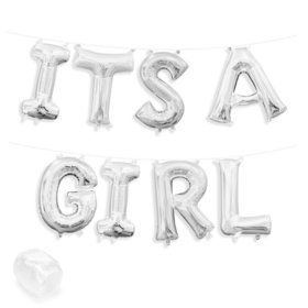 "Air-Fillable 13"" Silver Letter Balloon Kit ""ITS A GIRL"""