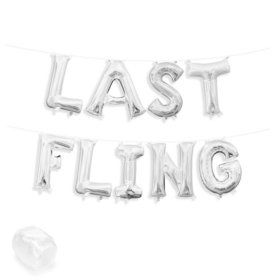 "Air-Fillable 13"" Silver Letter Balloon Kit ""LAST FLING"""