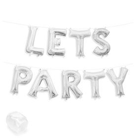 """Air-Fillable 13"""" Silver Letter Balloon Kit """"LETS PARTY"""""""