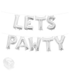 "Air-Fillable 13"" Silver Letter Balloon Kit ""LETS PAWTY"""