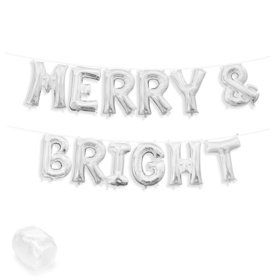 "Air-Fillable 13"" Silver Letter Balloon Kit ""MERRY & BRIGHT"""