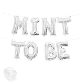 """Air-Fillable 13"""" Silver Letter Balloon Kit """"MINT TO BE"""""""
