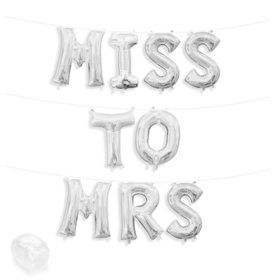 "Air-Fillable 13"" Silver Letter Balloon Kit ""MISS TO MRS"""