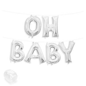 "Air-Fillable 13"" Silver Letter Balloon Kit ""OH BABY"""