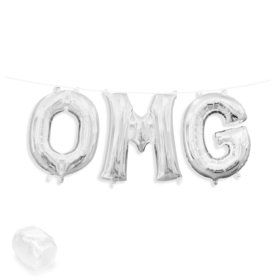 "Air-Fillable 13"" Silver Letter Balloon Kit ""OMG"""