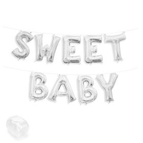 """Air-Fillable 13"""" Silver Letter Balloon Kit """"SWEET BABY"""""""