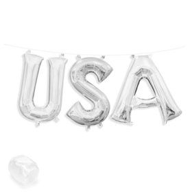 "Air-Fillable 13"" Silver Letter Balloon Kit ""USA"""