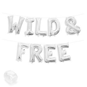 "Air-Fillable 13"" Silver Letter Balloon Kit ""WILD & FREE"""