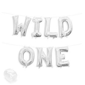 "Air-Fillable 13"" Silver Letter Balloon Kit ""WILD ONE"""