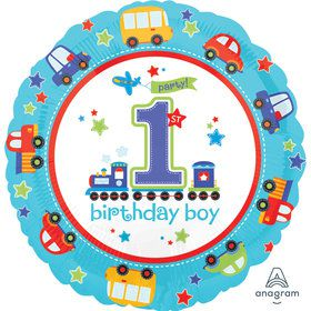 "All Aboard 1st Birthday Boy 18"" Balloon (1)"