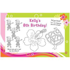 Aloha Luau Personalized Activity Mats (8-Pack)