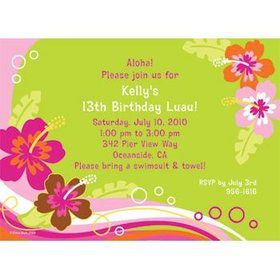 Aloha Luau Personalized Invitation (each)