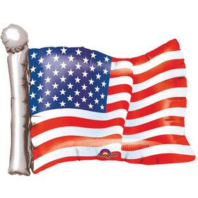 "American Flag 27"" Shape Foil Balloon (Each)"