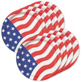 "American Flag 7"" Cake Plates (8 Pack)"