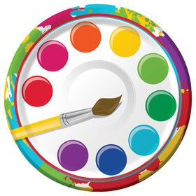 "Art Party 7"" cake Plates (8 Count)"