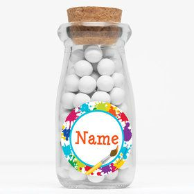 "Art Party Personalized 4"" Glass Milk Jars (Set of 12)"