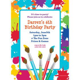 Art Party Personalized Invitation (Each)