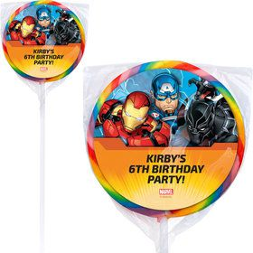 "Avengers Personalized 3"" Lollipops (12 Pack)"