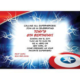 Avenging Heroes Personalized Invitation (Each)