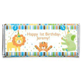 Baby Animals 1st Birthday Boy Personalized Candy Bar Wrapper (Each)