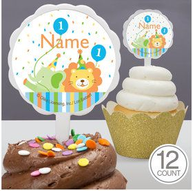 Baby Animals 1St Birthday Boy Personalized Cupcake Picks (12 Count)